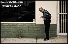 Pause (Bosquet) Tags: california road street city portrait people man streets reflection window senior lines shirt composition paper walking lost person nikon sandiego walk candid character note sidewalk sd elderly confused roads pause southerncalifornia d80 nikond80