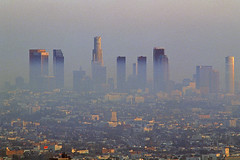Los Angeles Air Pollution (Jim Corwin's PhotoStream) Tags: travel sunset tourism vertical skyline buildings outdoors photography smog losangeles highway downtown cityscape skyscrapers pollution northamerica environment hazy airpollution socialissues urbanscene healthhazard badair healthrisk traveldestination politicalissues evironmentalissues heavysmog