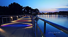 Walking Bridge Sunset - Grays Lake (Don3rdSE) Tags: sunset summer color reflection night canon landscape eos downtown nightshot iowa noflash ia desmoines walkingbridge 50d abigfave canon50d june2010 grayslakepark oltusfotos don3rdse bestofmywinners mygearandmepremium mygearandmebronze desmoinesisnotboring wwwdesmoinesisnotboringcom