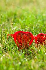 (ion-bogdan dumitrescu) Tags: red sun green grass canon glasses picnic heart shaped tiltshift bitzi tse90mm mg3229 tse90mmf28 ibdp picnicareala gettyvacation2010 ibdpro wwwibdpro ionbogdandumitrescuphotography