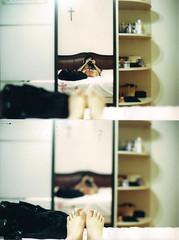 Do you realize? (starsinmysocks) Tags: life china woman selfportrait film feet home girl lady asian mirror bed diptych colours dof random room angie lazy noedit manual dip nikonfm2 ahh whatevs sooc