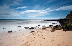 Olhos-de-Agua-Beach (petefoto) Tags: longexposure blue sea seascape colour beach portugal clouds landscape nikon atlantic coastal filters foreshore icewater polariser nd110 09hgrad mygearandmepremium mygearandmebronze