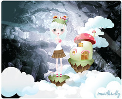 """""""Floating into the Darkness"""" illustration (imwithsully) Tags: portrait cliff cloud cute art mushroom girl illustration fairytale forest woodland mouse shoe artwork colorful kilt adobephotoshop dress darkness candy graphic sweet sassy gothic surreal floating fairy fantasy kawaii illustrator vector lineart lowbrow bigeye adobeillustrator bigeyed gradientmesh foodwithfaces etsytwitterteam"""