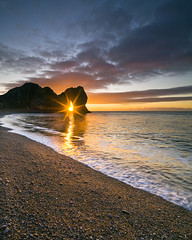 Durdle Door Sunrise (peterspencer49) Tags: door uk winter sea england beach clouds sunrise coast steps cliffs unesco worldheritagesite coastline oceanview coastalpath westcountry durdle durdledoor jurassiccoast limestonearch worldheitagesite cliffwalks peterspencer thepowerofnow h3dll39 stunningseascape beachseaview