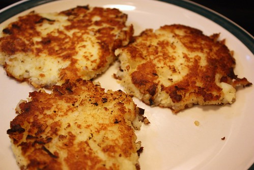 Leftover mashed potato pancakes life at cloverhill using your hands form small patties about the size of a hamburger and add to the frying pan cook until browned on one side and then flip and cook the ccuart Choice Image