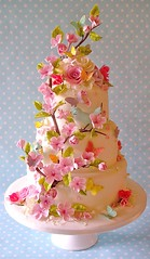 Summer blossom wedding cake (nice icing) Tags: flowers wedding summer birds cake butterflies pastels icing toppers