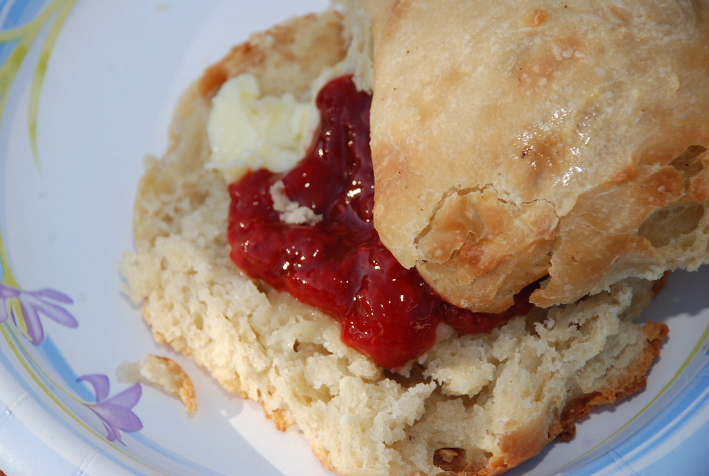 biscuits and jam (the biscuits had a great starter)