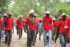 Peasant leader Chavannes Jean-Baptiste along the march route (teqmin) Tags: usaid demo haiti corn farmers mpp monsanto chavannes haitianpeasants gmofreeworld usforeignaid tminskyixnetcomcom antimonstanto foodsoverignty