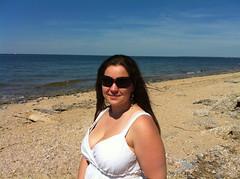 Kimberly (morgrar) Tags: ocean camera ny beach apple water li sand rocks waves bluesky longisland shore northshore longislandsound beautifulday iphone4 crabmeadowpark