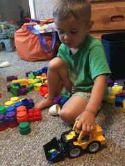 Noah loving his present