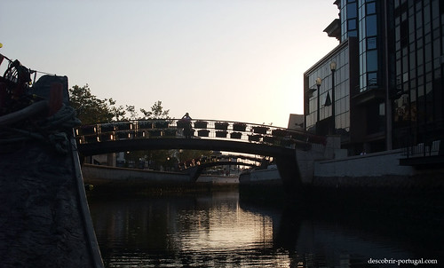 The pedestrian bridges are decorated with flower boxes