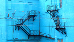 Blue Wall (cycleographer) Tags: contrast fireescape catchycolrs stairsbrickbluebuildingtoronto