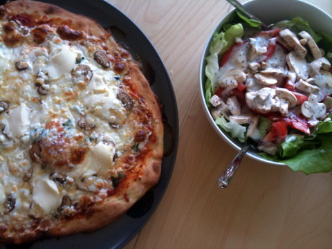 4 Cheese Mushroom Pizza and Garden Salad
