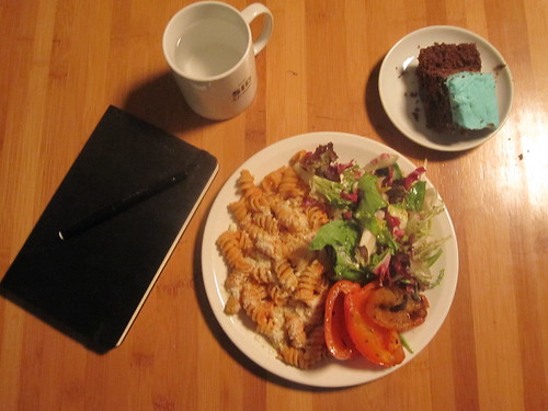 pastas with tomato sauce and cheese, grilled peppers, salad, cake from the bistro - free (working lunch)