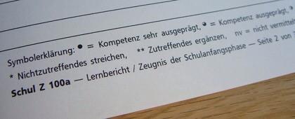 Bewertung Schulzeugnis Klasse 1