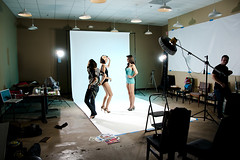 Behind the scenes... (Matt Burke Photo) Tags: lighting models boom theme backdrop 50s behindthescenes gels pinup alienbees offcamera strobist