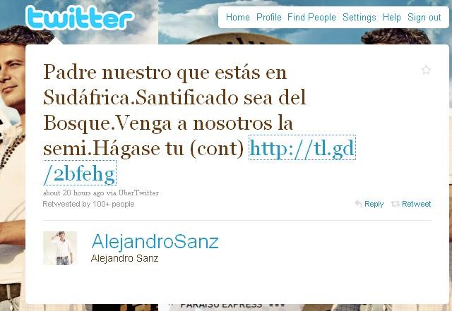 Thumb Alejandro Sanz twitteó un Padre Nuestro especial para el partido de España Alemania