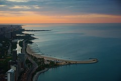 Lake Michigan Evening (Floating Imitations) Tags: road city blue sunset sky orange usa chicago cars beach water night clouds buildings landscape lights