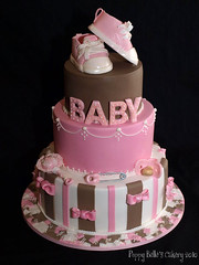 BABY GIRL ('The Gallery' Couture Cakes) Tags: show pink baby brown cake shower pin nappy diaper poppy patchwork dummy piping bows booties pacifier belles rattle cakery