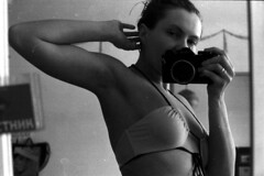 fomapan_33 (mariczka) Tags: blackandwhite bw selfportrait reflection slr film me girl analog 50mm mirror f14 swimsuit myflat borrowedcamera canonef fomapan400 canonlensfd mariczka vintageanalogue ilfordlc29developer developedbyszamil