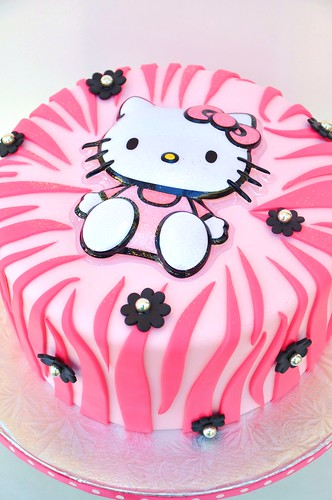 Hello Kitty Pink Zebra cake · zebra print cake · hello kitty cake