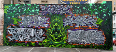 Chez, Defie, Rome, Pastime, Quake, Weirdo (background, character) (funkandjazz) Tags: sanfrancisco california streetart rome graffiti mural chez quake weirdo pt lords cbs esl pastime gl tfl defie osh