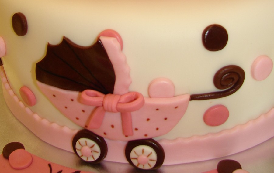 Baby By and Polka Dots Baby Shower Cake