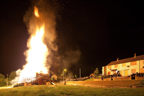 Burning Unionist Bonfire, Temporarily Boarded Up Homes
