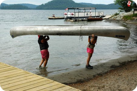 Camp Wabikon: hoisting that canoe
