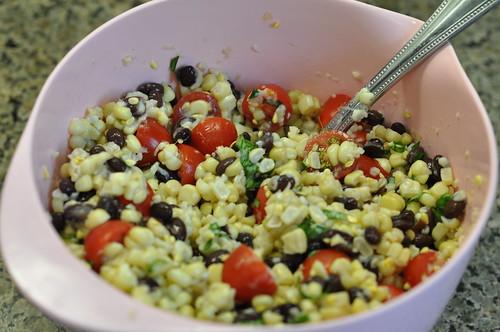 corn, beans, tomatoes, basil
