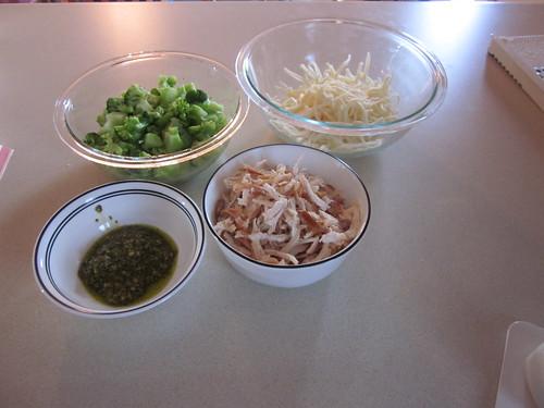 broccoli, chicken, pesto, and cheese