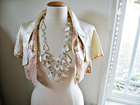 chandelier necklace+lucite necklace+dress form+studio