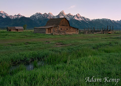 Sunrise at Mormon Row (akemp42) Tags: mountains water grass barn sunrise fence grandtetonnationalpark mormonrow tokina1116 nikond300s