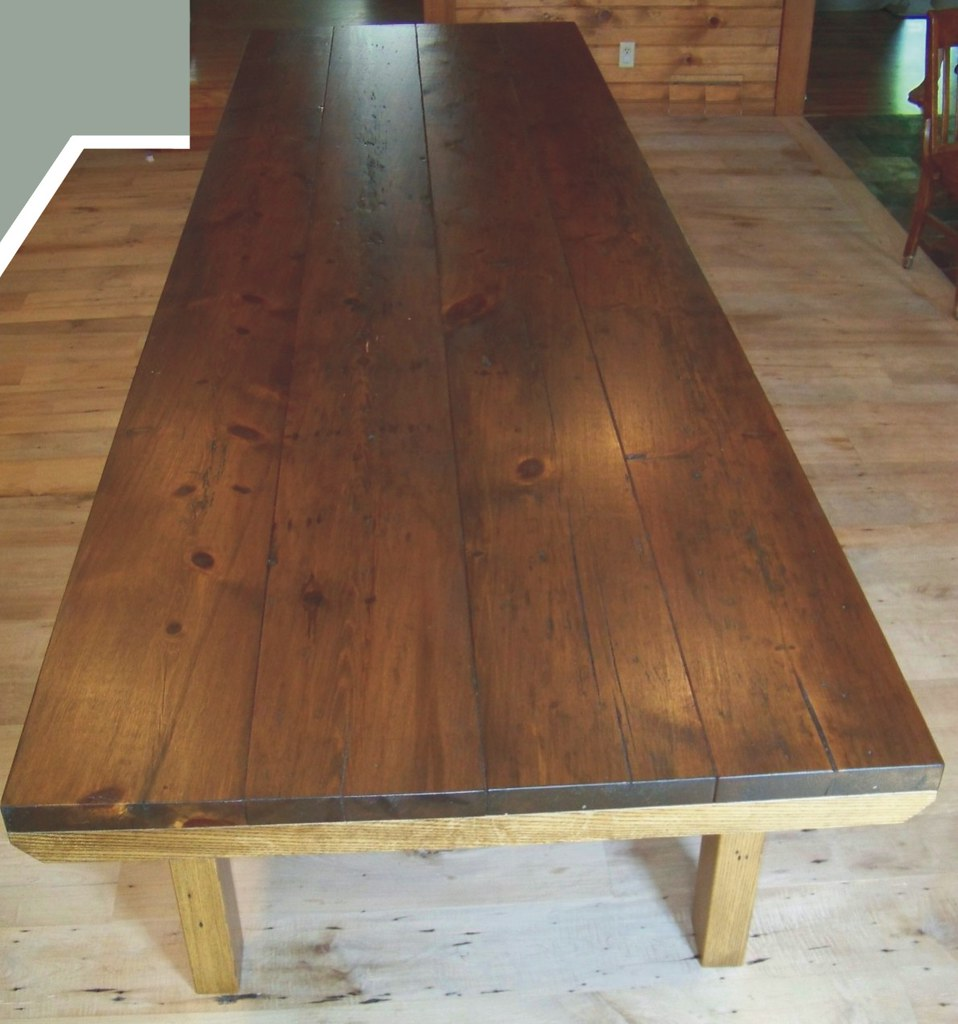 12 foot reclaimed pine wood dining table