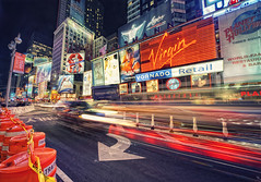 New York Times Square Traffic II (Philipp Klinger Photography) Tags: road street new york city nyc newyorkcity light sky usa ny newyork car sign night america ads square lights nikon long exposure neon shadows nocturnal cross shot angle theatre manhattan district united unitedstatesofamerica north ad wide virgin f hollywood timessquare processing planet northamerica roadsign times headlight states marypoppins sigma1224mm dri ts hdr tripe xprocessing d700 eresting