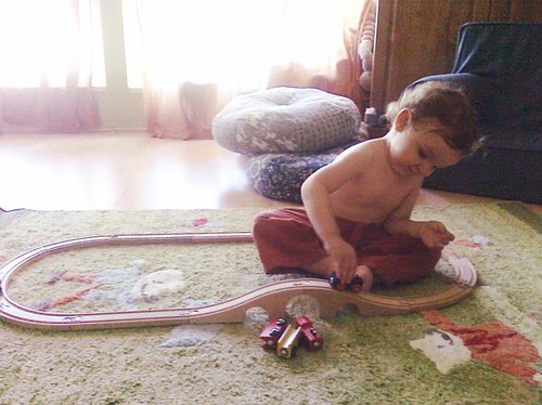 loving his new train set...