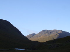 Morning sun reaches mountains in Glen Etive (morriganthecelt) Tags: sky mountains river scotland glen etive scotlandinthesun scotlandscountryside scotlandslandscapes