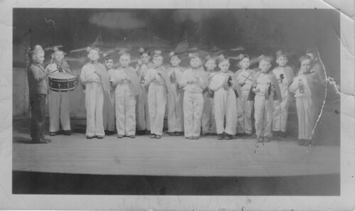 Gordon Cave; front row, second from right, with glasses. Battleford, Saskatchewan, circa 1935.