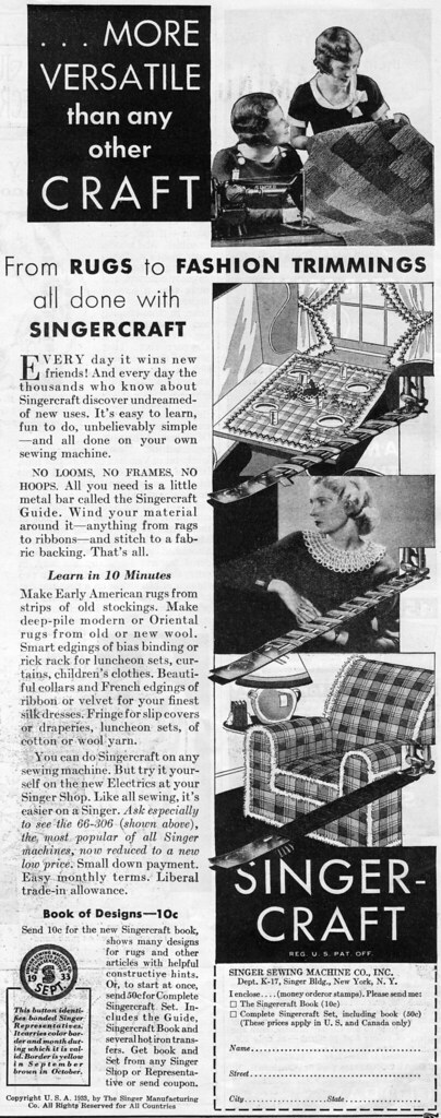 Singercraft ad, 1933