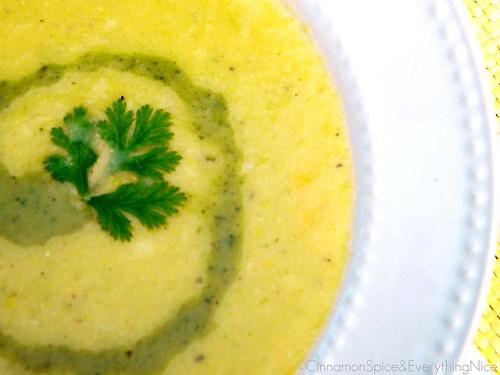 White Corn Soup with Poblano Cream