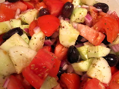 Greek salad, pre-feta cheese