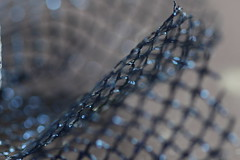Another attempt (Elly Snel) Tags: blue home blauw bokeh squares fabric workplace thuis lint atelier vierkantjes