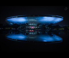 Expo 2010 Shanghai (Yug_and_her) Tags: world china travel reflection water fountain architecture night lights shanghai expo symmetry explore flyingsaucer frontpage spacecraft 2010 betterlife bettercity