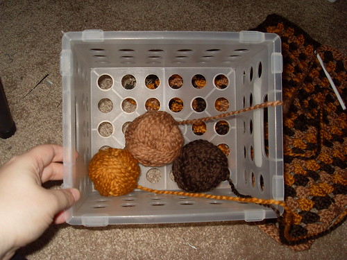 brown, orange and beige yarn for mommy blanket