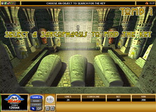 free Pharaoh's Tomb gamble bonus game