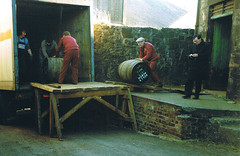 Bells Bond, Auchtermuchty. 1987. (Kingfisher 24) Tags: bells scotland fife barrels whisky olympustrip auchtermuchty