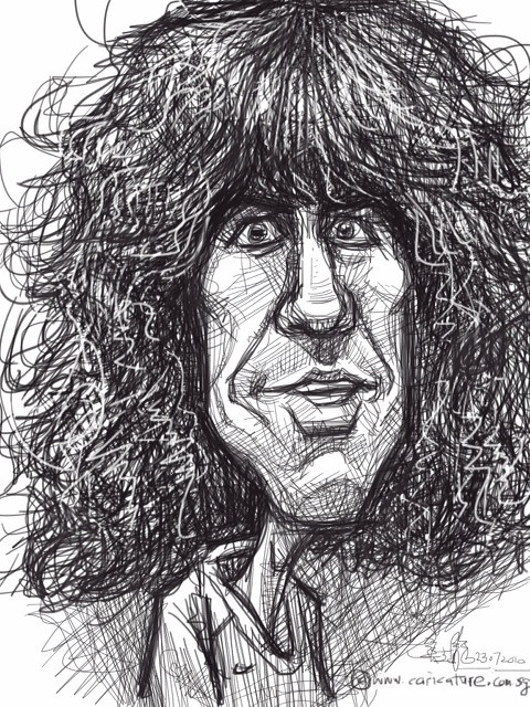 digital caricature sketch of Carles Puyol on iPad Sketchbook Pro