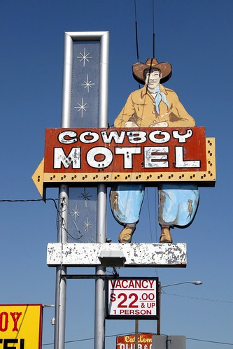 cowboy motel neon sign