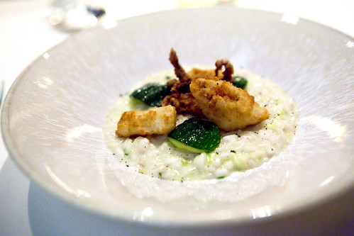 Risotto with zucchini and calamari