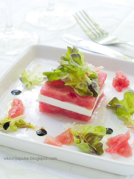 Appetizer from watermelon and feta